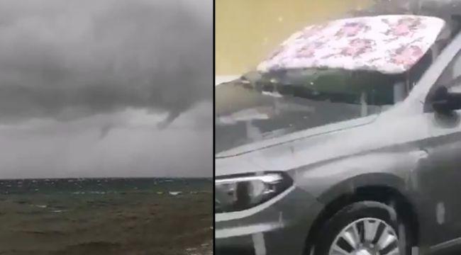 İzmir'de beklenen yağış başladı : Kıyıları hortum ve dolu vurdu!