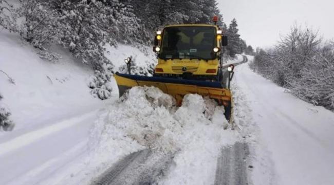 Ödemiş'te karla mücadele çalışması